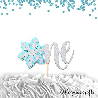 One Snowflake silver glitter baby blue cake topper for cake smash first birthday winter onederland theme