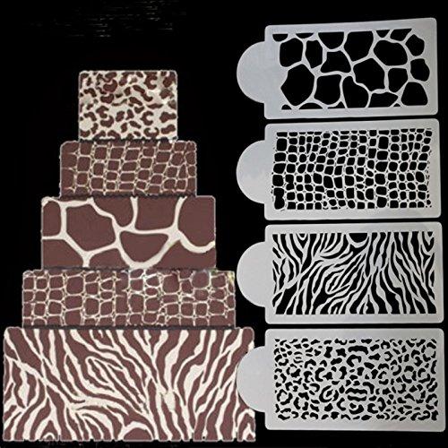 September-Europe Schablonen mit Zebra- und Leopardenmuster, Dekorationswerkzeuge für Kuchen, Torten und Fondants auf Hochzeiten und Geburtstagen, 4-teiliges Set