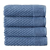 AFFORDABLE BUNDLE: 4-pack of plush bath towels with a classic and simple pique border and woven detailed pattern. 4 Bath Towels (30 inch x 52 inch) QUICK-DRY, TEXTURED, LATTICE WAFFLE WEAVE: Our Grayson towels are designed to absorb more liquid than ...