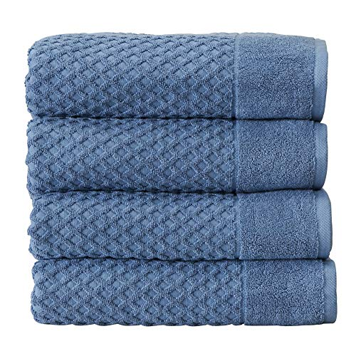 100% Cotton Quick-Dry Bath Towel Set (30 x 52 inches) Highly Absorbent, Textured Luxury Bath Towels. Grayson Collection (Set of 4, Blue)