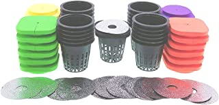 2 layers Cloning Collars with 2 in Net Pots and Reflective Lids, Replacement 2 inch Net Cups and 2-Layered Neoprene Inserts for 24-Sited DWC Cutting Clone & Seedling Root System (4-colored pack of 25)