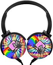 BEKAI Rainbow Cute N-y-a-n Cat Over-Ear Heavy Bass Surround Sound Cable Headphones for Gaming/Music Black
