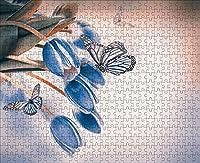 LHJOY 大人のためのジグソーパズルクリスマス500個蝶の青いチューリップの花の動物子供たちの女の子のための誕生日プレゼントとホリデーギフト 52x38cm