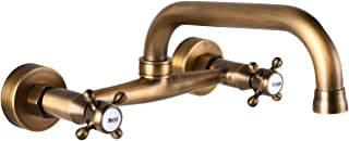 Wall Mount Faucet 8 Inch Center Antique Brass Kitchen Sink Taps 2 Cross Knobs Handle Victorian Commercial