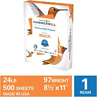 Hammermill Premium Multipurpose 24lb Copy Paper, 8.5x 11, 1 Ream, 500 Sheets, Made in USA, Sustainably Sourced From American Family Tree Farms, 97 Bright, Acid Free, Printer Paper, 105810R