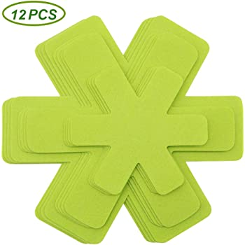 Pots and Pans Protectors, Set of 12 and 3 Different Size, Green Pot Dividers Pads/Stacking Pan Protectors/Pan Separators Pads for Protecting and Separating Pots and Pans