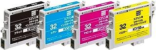【Amazon.co.jp限定】 エコリカ エプソン(EPSON)対応 リサイクル インクカートリッジ(エプソン) IC4CL32 4色パック EC-IC4CL32A (FFP・封筒パッケージ) (目印:ヒマワリ)