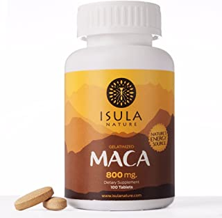 Isula Nature 100% Peruvian Maca Root Powder Premium Organic Gelatinized 800mg x 100 Tablets