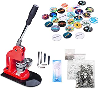 Seeutek Button Maker Button Maker Machine Button Badge Maker 3 inch 75mm with 300 Pcs Button Parts and 3 inch 75mm Circle Cutter