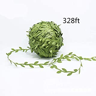 Shine-Co 328ft Artificial Green Leaves Fake Silk Vines DIY Garland Wreaths Decoration for Office Home Garden Wedding Party