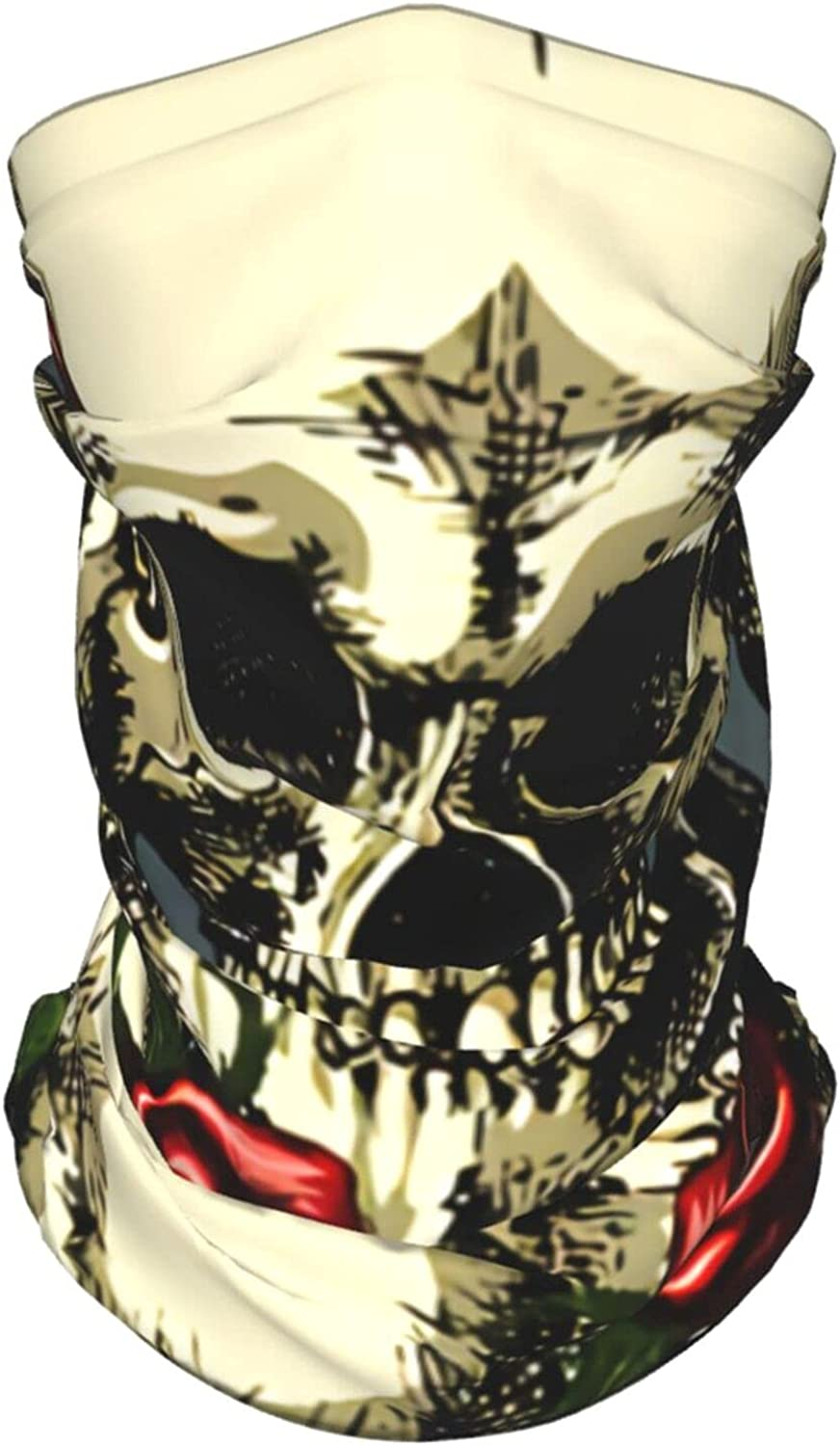 Skull Red Rose Holiday Summer Ice Silk Breathable Face Mask Neck Gaiter Scarf Bandanas for Fishing,Hiking,Running,Motorcycle and Daily Wear
