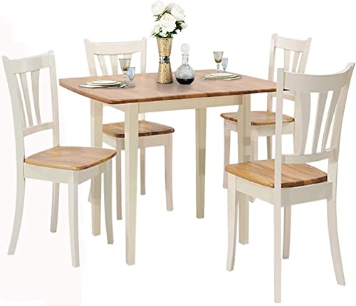 lowest Giantex 5-Piece Dining Table Set with outlet sale Folding Tabletop, Wood Kitchen Table and 4 Chairs Set, Modern Extendable Dining Table 31.5 Inch high quality to 42 Inch, Compact Dinette Set for Small Space, Apartment outlet online sale