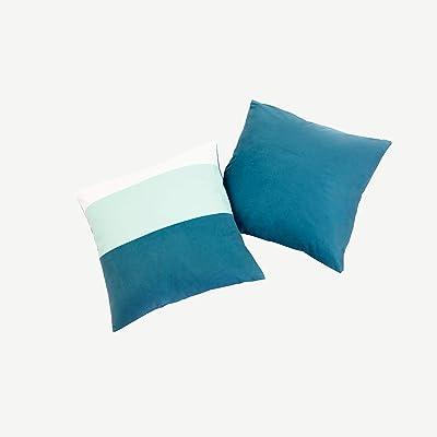 Offtopic Lot de 4 taies d'oreiller pour canapé 45 x 45 cm en velours doux   Coussins décoratifs élégants avec design italien et dos en couleur unie   Lavable en machine   Blocky vert