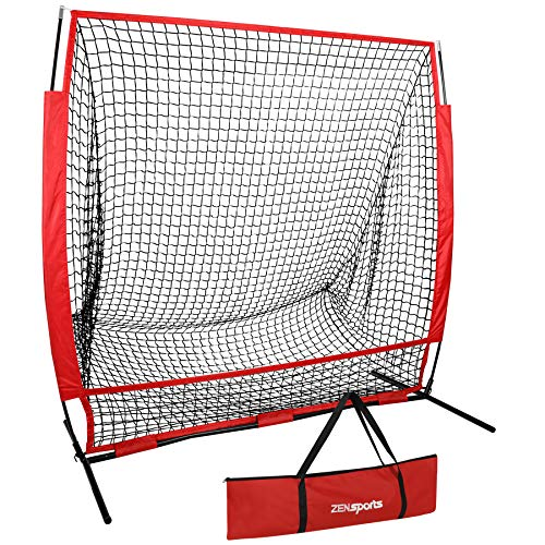 ZENY Portable 5'x5' Baseball Softball Practice Net Hitting Pitching Batting Training Net w/Carry Bag & Metal Frame Great for Indoor Outdoor Practice