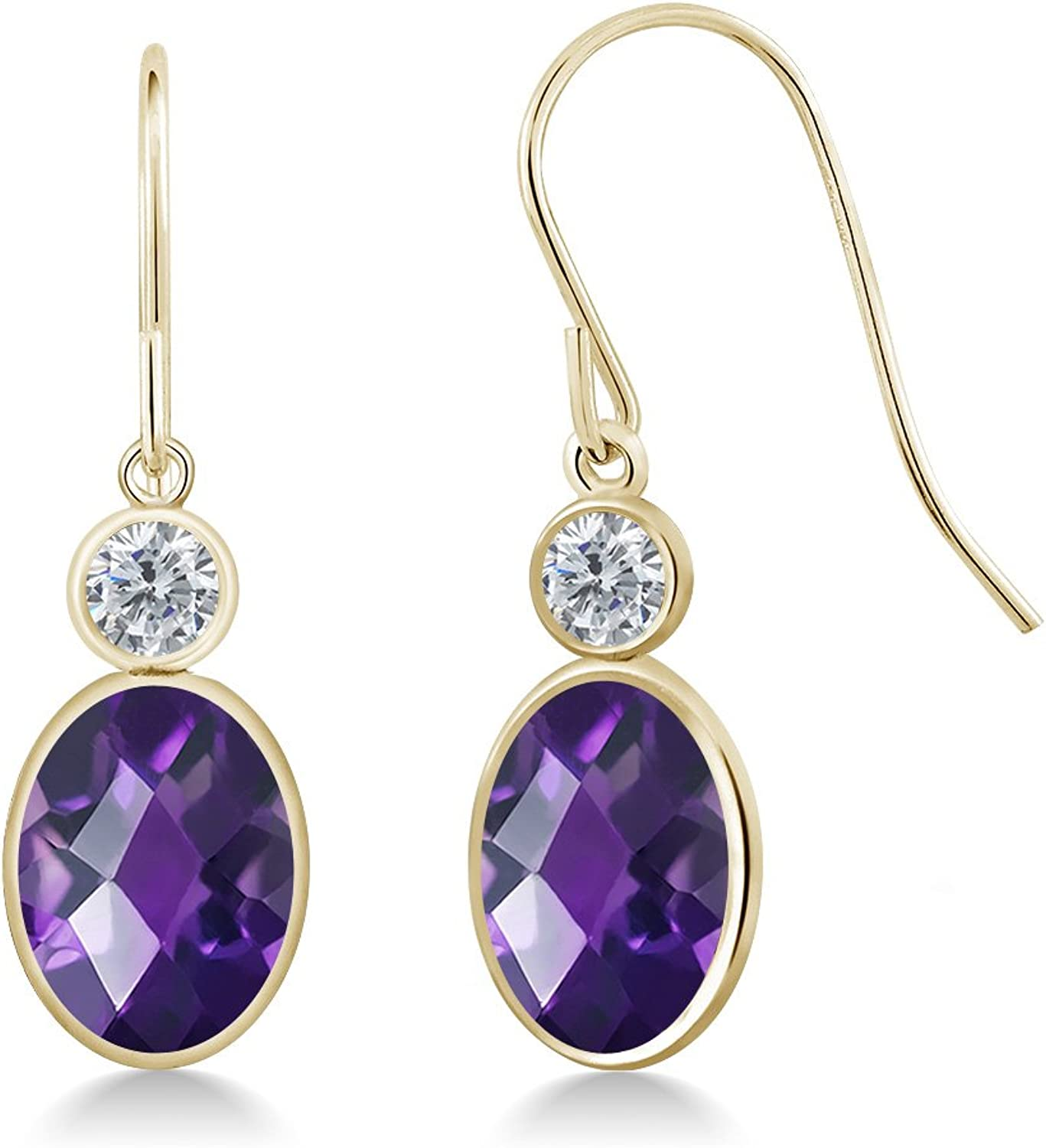 2.20 Ct Oval Checkerboard Purple Amethyst G H Diamond 14K Yellow gold Earrings