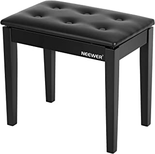 $65 » Neewer Wooden Piano Bench Stool with Sheet Music Storage Black Solo Seat PU Leather Cushion, Solid Hard Wood Construction ...