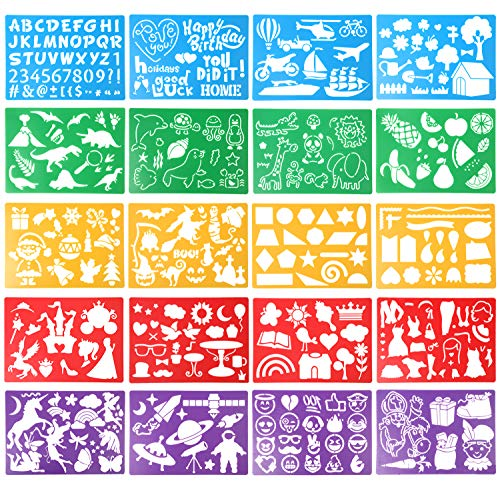 DIYASY 20 Pcs Drawing Stencils Set for Kids,Large Plastic Stencil Kit 300+ Patterns Drawing Templates for Girls & Boys Gift.