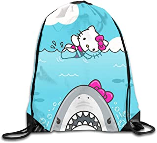 16b3e350d Meirdre Unisex Hello Kitty and Shark Sports Drawstring Backpack Gym Bag