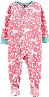 Toddler Girl's Peach Unicorn Floral Fleece Footed Pajama Sleeper