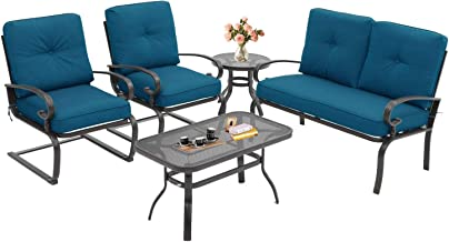 Oakmont 5Pcs Outdoor Patio Furniture Conversation Sets (Loveseat, Coffee Table and Bistro Table, 2 Spring Chair) -Wrought Iron Chair Set with Peacock Blue Cushions