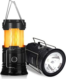 Solar Lantern LED Flashlight Portable Collapsible Rechargeable 3 Colors light for Outdoor Camping Emergency