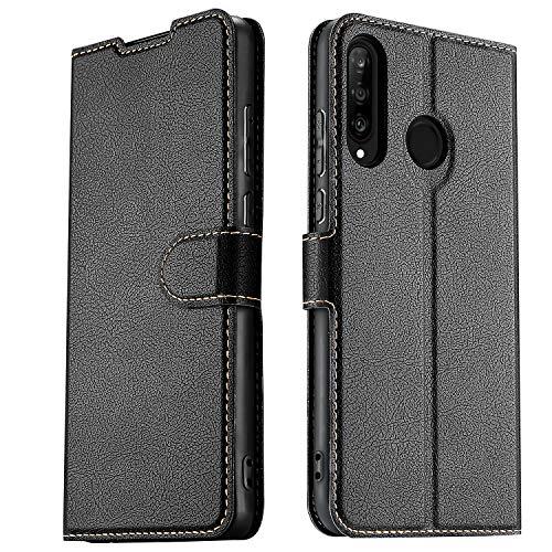 ELESNOW Hülle für Huawei P30 Lite / P30 Lite New Edition, Premium Leder Klappbar Wallet Schutzhülle Tasche Handyhülle mit [ Magnetisch, Kartenfach, Standfunktion ] für Huawei P30 Lite (Schwarz)