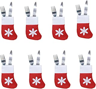 8pcs Xmas Set Cutlery Suit Decor Table Dinner Silverware Holders Pockets Knifes Forks Tableware Bags Christmas Party Decor...