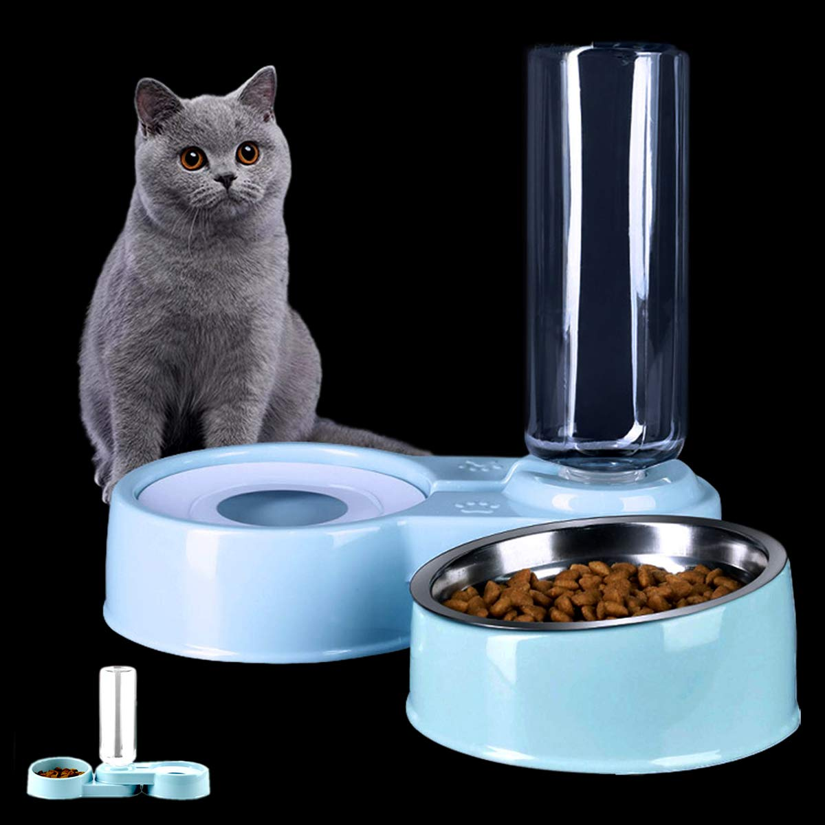 2 in 1 Comedero y Bebedero Automático para Gatos y Perros,Dispensador de Agua Pequeño, Comedero de Perros para Ralentizar la Comida, Gato Comedero De Agua para Mascotas, (Blanco y Azul) (Azul): Amazon.es: