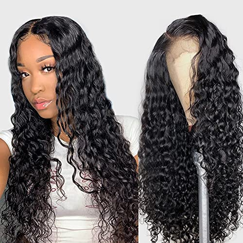 Alibeauty 13×4 Lace Front Wigs Human Hair for Black Women 180% Density Brazilian Water Wave Human Hair Wigs Pre Plucked with Baby Hair(14 Inch)