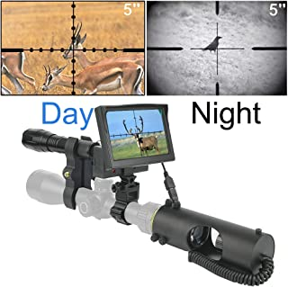 RHYTHMARTS Hunting Night Vision Monocular Scope for Riflescope with Camera and 5`` Screen