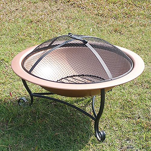 ZCYY Outdoor fire pit, Outdoor Fire Pit Bowl, Round Fire Pit Wood Burning, Patio Firebowl with Spark Screen - 20 Inch Fire Bowl with Metal Tripod, Rose Gold Color