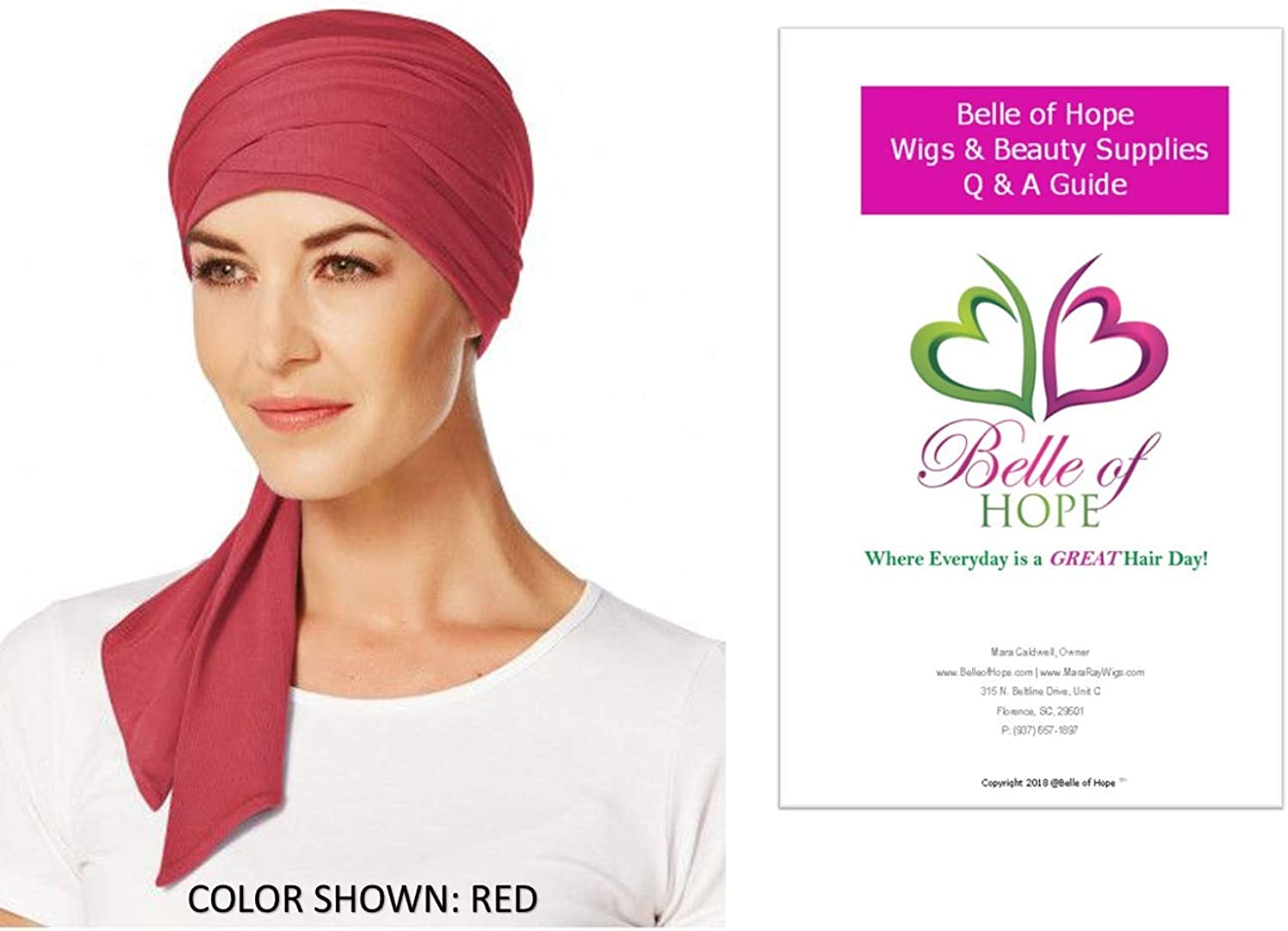 Christine Headwear 2PC Bundle  Manta Long Scarf and Belle of Hope 19 Page Q & A Guide