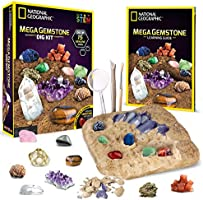 National Geographic Mega Gemstone Dig Kit – Dig Up 15 Real Gems with this Excavation Kit, STEM Science Educational Toys...