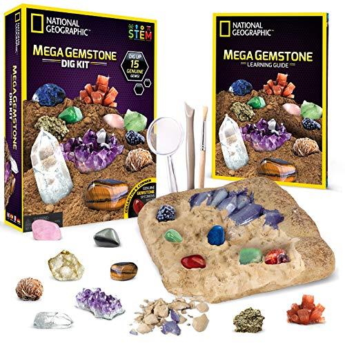 NATIONAL GEOGRAPHIC Mega Gemstone Dig Kit – Dig Up 15 Real Gems, STEM Science & Educational Toys make Great Kids Activities