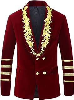 PYJTRL Mens Military Style Embroidery Velvet Blazer Suit Jacket