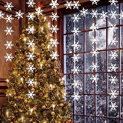 20Ft Big Size White Snowflake Decoration For Frozen Party Supplies Snowflakes Paper Garland Streamer Bunting Banner For Winter Wonderland Birthday Baby Shower Wedding Showcase Ceiling Hanging Ornament