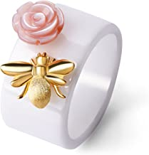 Lotus Fun S925 Sterling Silver Ring Handmade Unique Thumb Ring Bee Kiss from a Rose Ceramics Jewelry Gift for Women and Girls