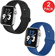 Kaome Compatible with Apple Watch Band 44mm 42mm 2-Pack,Soft Strap Sport Band for iWatch Apple Watch Series 4, Series 3, Series 2, and Series 1(M/L,Black,Blue)