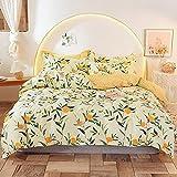 OUDEING Juego de cama extra suave de algodón puro pequeño floral 4 piezas juego de ropa de cama de algodón funda de edredón con funda de almohada-6_200cm cama 4 piezas