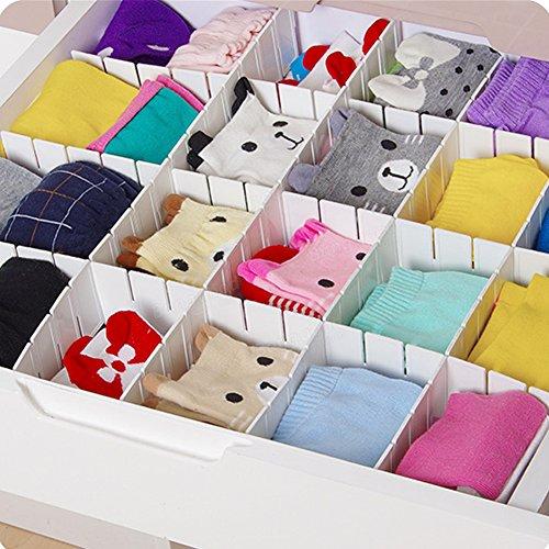 GEZICHTA Divisor de cajón, 6 piezas de separadores de cajón de rejilla ajustable, organizador para ropa interior, calcetines, cinturón, suministros de oficina, Blanco, 43*5cm
