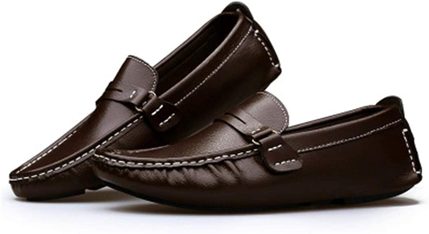 Pleasantlyday Men shoes Genuine Leather Loafer Boat Peas Slip On Flats Walk Drive Moccasins Breathable British Style