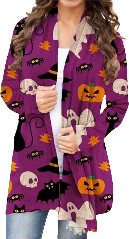 Women Halloween Skull Pumpkin Print Cardigan Long Sleeve Open Front Sweater Coat Blouse Loose Casual Top Spring Autumn