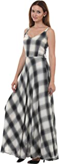 Lady Stark Women's Column Dress (LSDR45007-M, Grey and White, Medium)