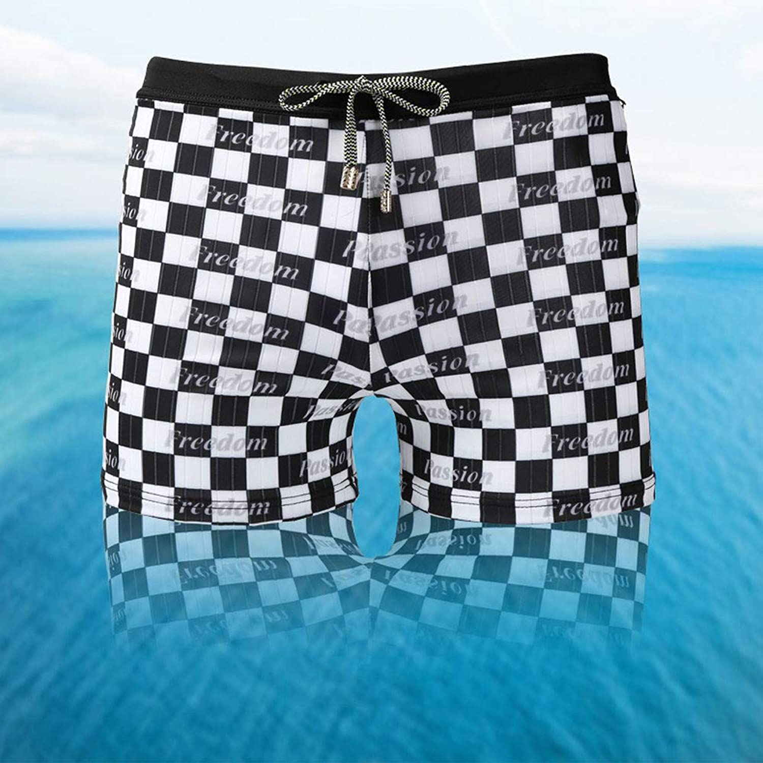Cotress Summer Seaside EbarrassedProof Holiday New Men's Swimming Trunks Black and White Boxer Swimming Trunks Fashion Men's Boxer Hot Springs Large Size Swimming Trunks
