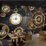 Fotomurales Papel pintado tejido no tejido Reloj mecánico dorado Murales...