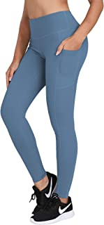 Women's High Waist Yoga Pants with Side & Inner Pockets Tummy Control Workout Running 4 Way Stretch Sports Leggings