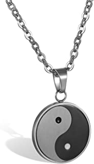 JewelryWe Vintage Yin Yang Pendant Necklace Stainless Steel Necklaces Bagua Pendant Men Jewelry with Chain