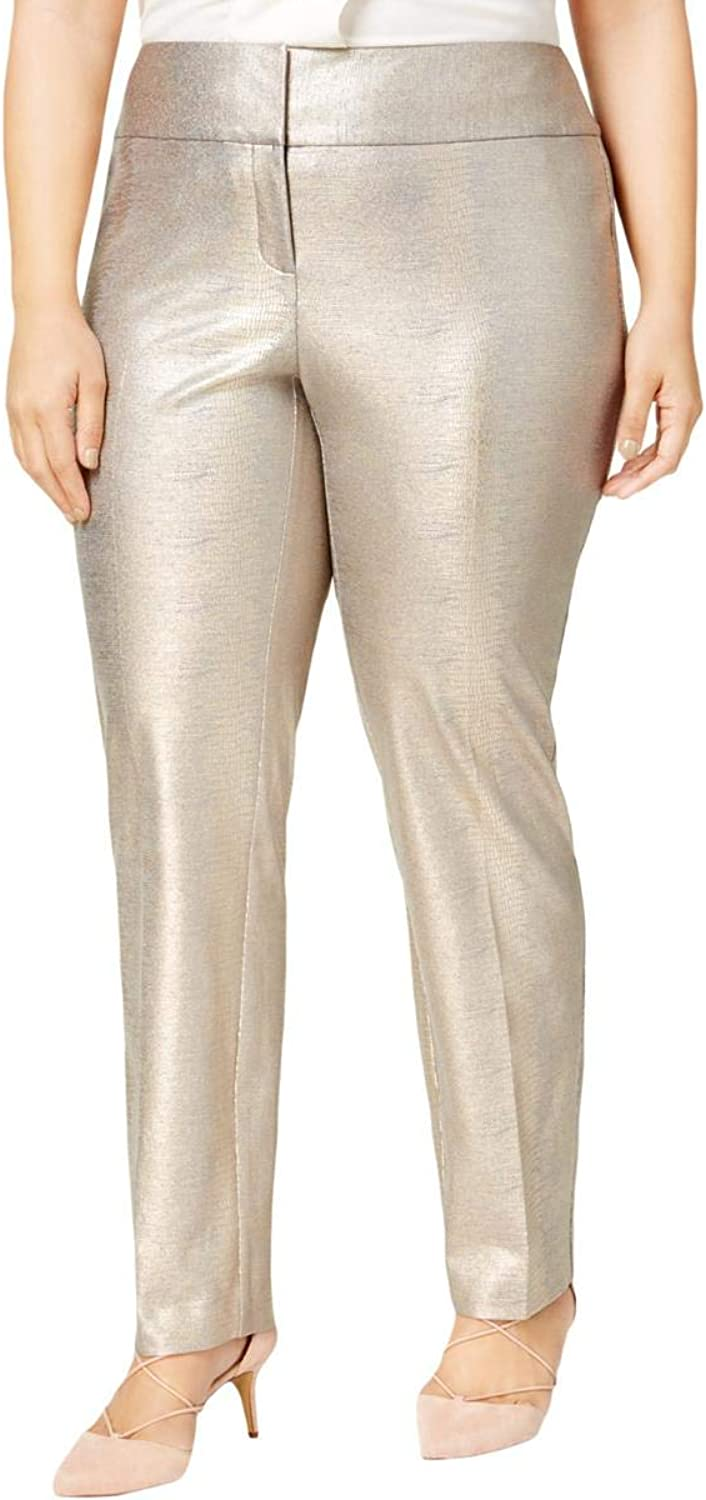 Alfani Womens Plus Metallic Coated Dress Pants