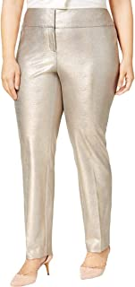 Womens Plus Metallic Coated Dress Pants