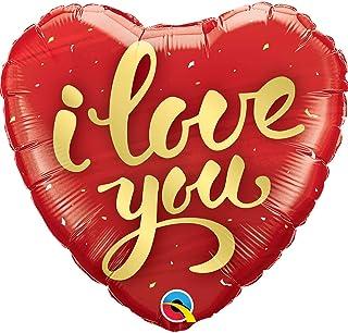 "Qualatex I Love You Gold Script Mylar Party Foil Balloon, 18"", Multicolor"